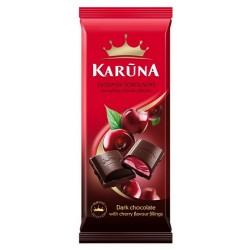 KARŪNA juodasis šokoladas su vyšnių įdaru, 90 g.