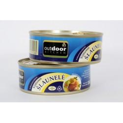 *Konservuota vištienos šlaunelė, lengvai atidaroma, 250 g.
