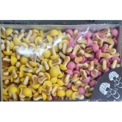 """GRYBUKAI """"Linksmučiai"""" sausainiai (vaisių skonio asorti)(dėžė), 1 kg"""