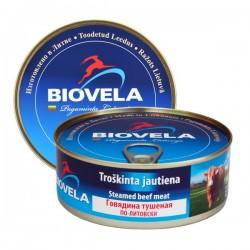 BIOVELA troškinta jautiena (konservai), 240 g