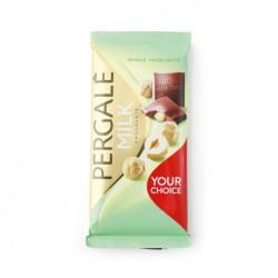 PERGALĖ  pien., šokoladas su sveik., lazdyno riešut., 100 g.
