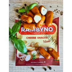 *RAMBYNO lydytas rūkytas sūrio UŽKANDIS (su kumpiu), 45%, 75 g.