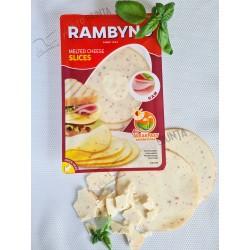 *RAMBYNO lydytas sūris RIEKELĖMIS (su kumpiu), 45% r., 150 g.