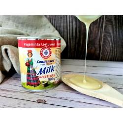 LIETUVAITĖ saldintas sutirštintas pienas , 385 g.