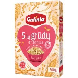 GALINTA 5-ių grūdų dribsniai, viso grūdo, 500 g.